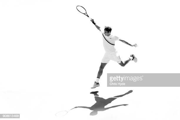 Roger Federer of Switzerland plays a forehand in his fourth round match against Marton Fucsovics of Hungary on day eight of the 2018 Australian Open...
