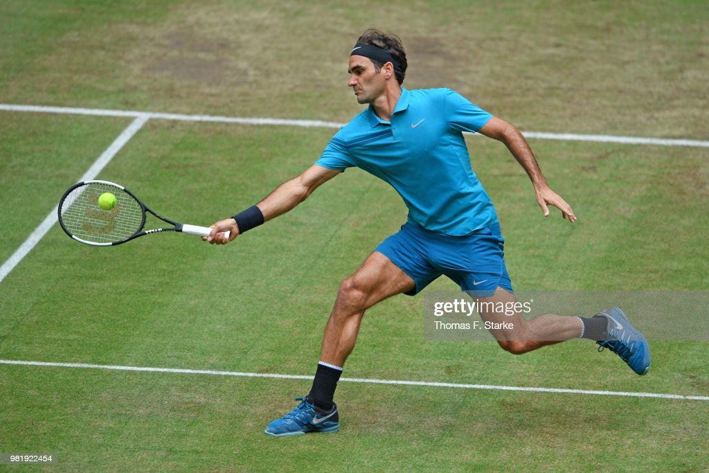 Roger Federer of Switzerland plays a forehand in his half final match against Denis Kudla of the United States during day six of the Gerry Weber Open at Gerry Weber Stadium on June 23, 2018 in Halle, Germany.