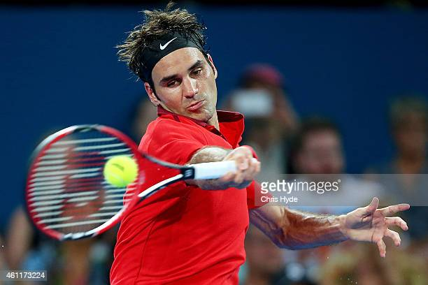 Roger Federer of Switzerland plays a forehand in his match against John Millman of Australia during day five of the 2015 Brisbane International at...