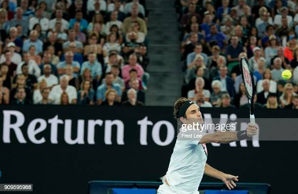 Roger Federer of Switzerland plays a forehand in his quarterfinal match against Tomas Berdych of the Czech Republic on day 10 of the 2018 Australian...