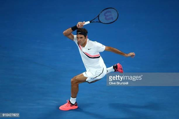 Roger Federer of Switzerland plays a forehand in his semifinal match against Hyeon Chung of South Korea on day 12 of the 2018 Australian Open at...