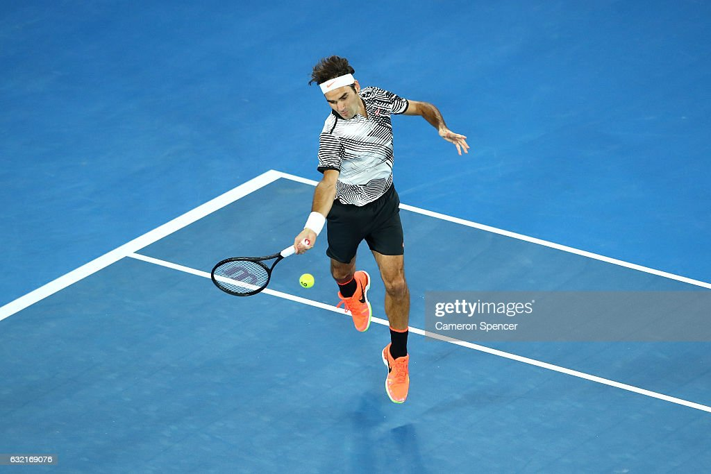 Roger Federer of Switzerland plays a forehand in his third round match against Thomas Berdych of the Czech Republic on day five of the 2017 Australian Open at Melbourne Park on January 20, 2017 in Melbourne, Australia.