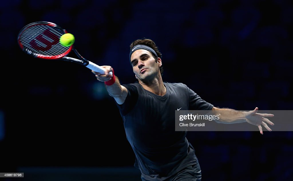 Roger Federer of Switzerland plays a forehand in practice during the Barclays ATP World Tour Finals tennis previews at the O2 Arena on November 8, 2014 in London, England.