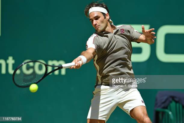 Roger Federer of Switzerland plays a forehand in the final match against David Goffin of Belgium during day 7 of the Noventi Open at Gerry Weber...