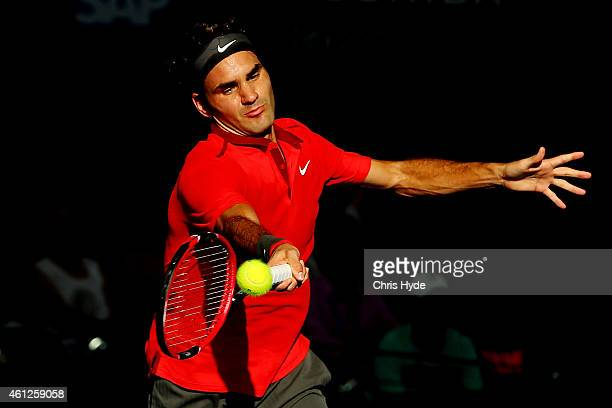 Roger Federer of Switzerland plays a forehand in the Men's semi final match against Grigor Dimitrov of Bulgaria during day seven of the 2015 Brisbane...