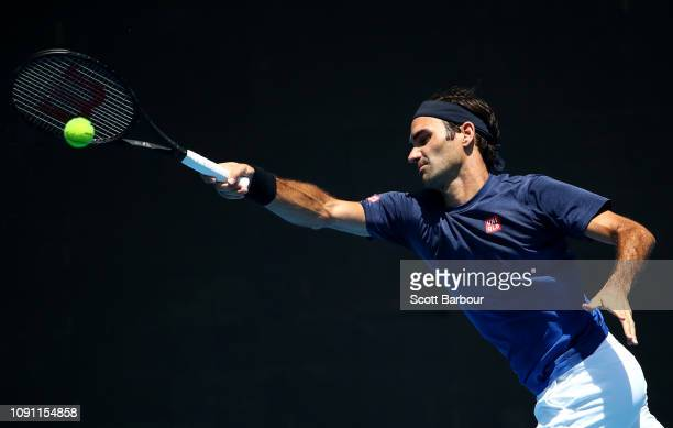 Roger Federer of Switzerland plays a forehand shot during a practice session ahead of the 2019 Australian Open at Melbourne Park on January 08 2019...