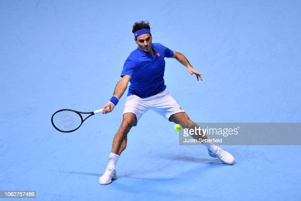 Roger Federer of Switzerland plays a forehand shot in his semi finals singles match against Alexander Zverev of Germany during Day Seven of the Nitto...
