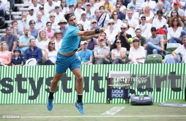 Roger Federer of Switzerland plays a forehand to Guido Pella of Argentina during day 5 of the Mercedes Cup at Tennisclub Weissenhof on June 15 2018...