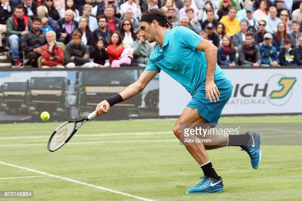 Roger Federer of Switzerland plays a forehand to Mischa Zverev of Germany during day 3 of the Mercedes Cup at Tennisclub Weissenhof on June 13 2018...