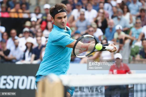 Roger Federer of Switzerland plays a forehand to Nick Kyrgios of Australia during day 6 of the Mercedes Cup at Tennisclub Weissenhof on June 16 2018...