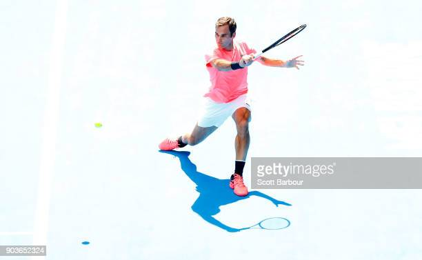Roger Federer of Switzerland plays a shot during a practice session ahead of the 2018 Australian Open at Melbourne Park on January 11 2018 in...