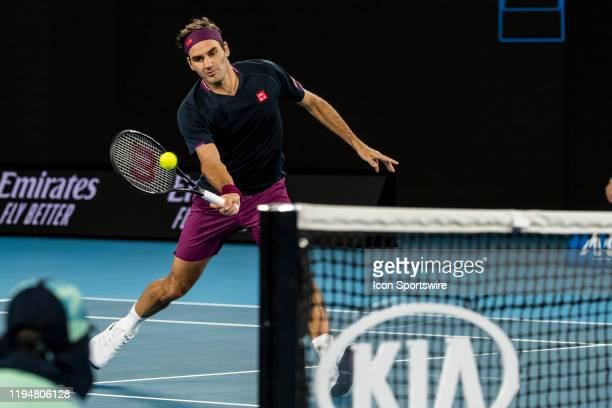 Roger Federer of Switzerland plays a shot during the first round of the 2020 Australian Open on January 20 2020, at Melbourne Park in Melbourne,...