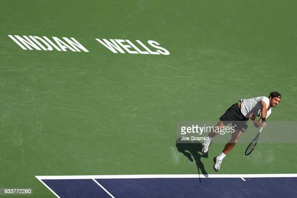 Roger Federer of Switzerland plays a shot during the men's final against Juan Martin Del Potro of Argentina at the BNP Paribas Open on March 18 2018...