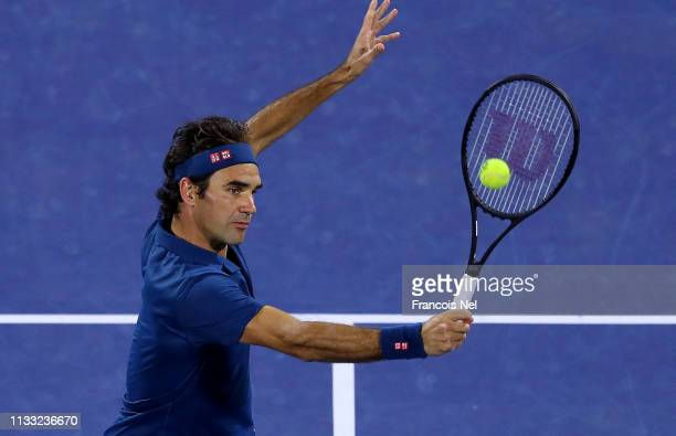 Roger Federer of Switzerland plays a shot in his Men's Singles Final match against Stefanos Tsitsipas of Greece during day fourteen of the Dubai Duty...