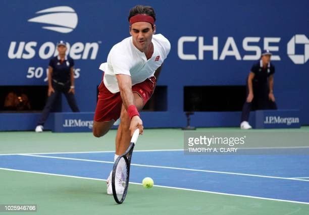 TOPSHOT Roger Federer of Switzerland plays against Nick Kyrgios of Australia during Day 6 of the 2018 US Open Men's Singles match at the USTA Billie...