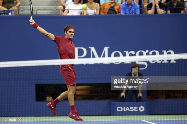 Roger Federer of Switzerland plays against Nishioka Yoshihito during US Open 2018 tournament in Arthur Ashe Stadium in Flushing New York United...