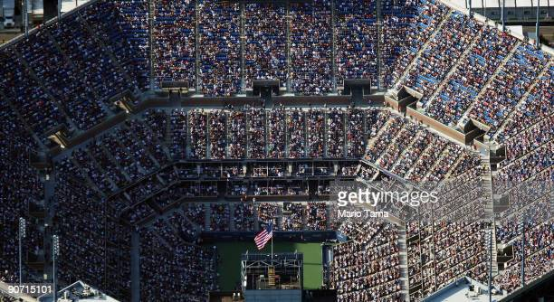 Roger Federer of Switzerland plays Novak Djokovic of Serbia in the Mens Singles Semifinal match on day fourteen of the 2009 US Open at the USTA...