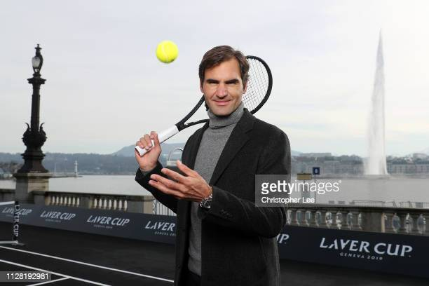 Roger Federer of Switzerland poses for a photo on the black court at La Rotonde ahead of The Laver Cup Press Conference on February 08 2019 in Geneva...