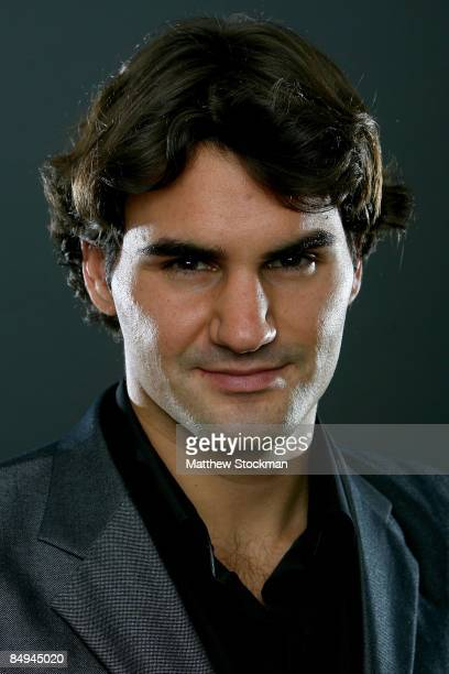 Roger Federer of Switzerland poses for a portrait at a media availability session at the Hiltono Hotel for the Tennis Masters Cup November 8 2008 in...