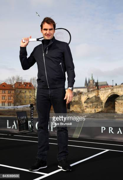 Roger Federer of Switzerland poses for photos in front of the Charles Bridge during the countdown to the inaugural Laver Cup on February 20 2017 in...