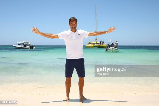 Roger Federer of Switzerland poses on the beach for media at Rottnest Island ahead of the 2018 Hopman Cup on December 28 2017 in Perth Australia