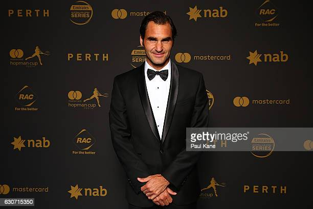 Roger Federer of Switzerland poses on the blue carpert during the Hopman Cup New Year's Eve Gala at the Crown Perth on December 31, 2016 in Perth,...