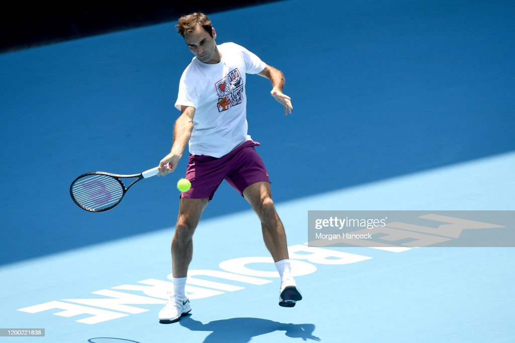 Roger Federer Of Switzerland Practices Ahead Of The 2020
