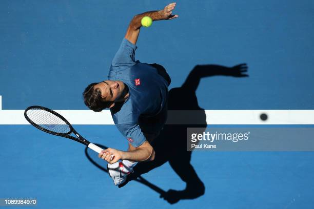 Roger Federer of Switzerland practices ahead of the final during day eight of the 2019 Hopman Cup at RAC Arena on January 05 2019 in Perth Australia