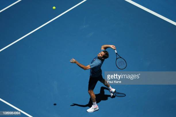 Roger Federer of Switzerland practices ahead of the final during day eight of the 2019 Hopman Cup at RAC Arena on January 05, 2019 in Perth,...