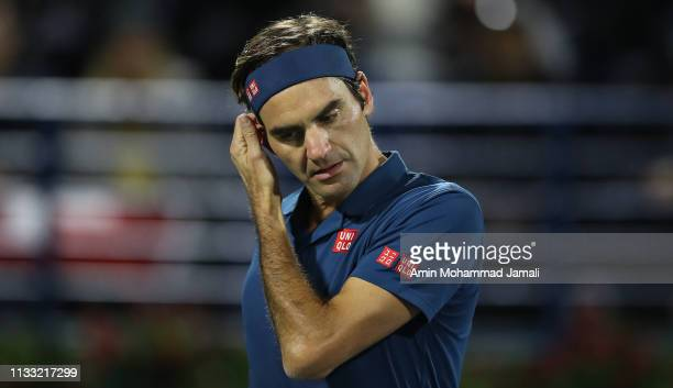 Roger Federer of Switzerland react against Stefanos Tsitsipas of Greece during day Fourteen of the Dubai Duty Free Tennis Stadium on at Dubai Duty...