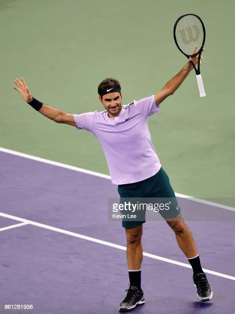 Roger Federer of Switzerland reacts after defeating Marin Cilic of Croatia on Day 7 of 2017 ATP 1000 Shanghai Rolex Masters during Men's Single...