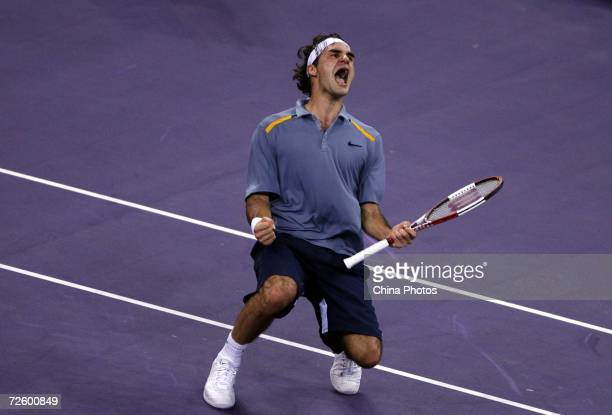 Roger Federer of Switzerland reacts after defeating Rafael Nadal of Spain in the semi-finals of the Tennis Masters Cup Shanghai on November 18, 2006...