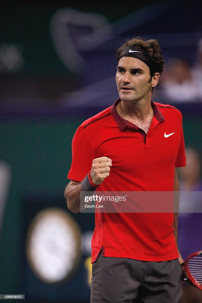Roger Federer of Switzerland reacts after his match against Roberto Bautista Agut of Spain during day 5 of the Shanghai Rolex Masters at Zi Zhong stadium on October 9, 2014 in Shanghai, China.