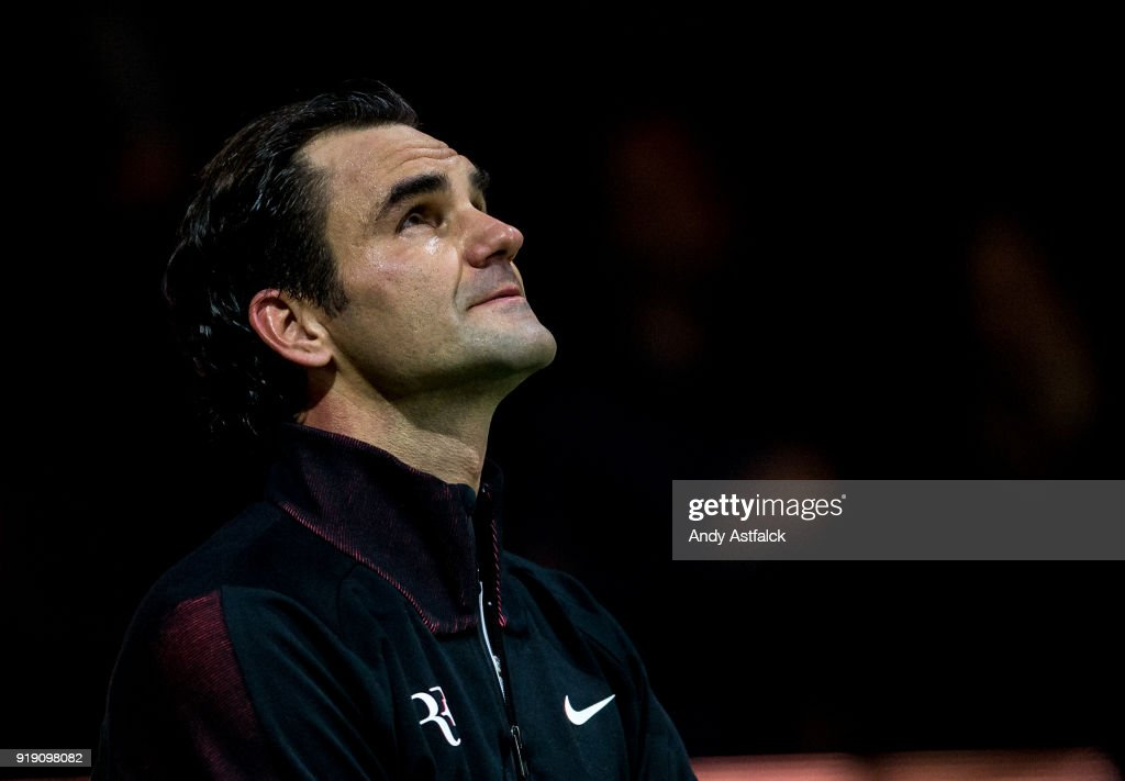Roger Federer of Switzerland reacts after his Quarter Final match against Robin Haase of the Netherlands on day 5 of the ABN AMRO World Tennis Tournament held at Ahoy Rotterdam on February 16, 2018 in Rotterdam, Netherlands.