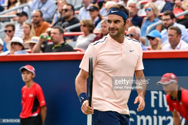 Roger Federer of Switzerland reacts against David Ferrer of Spain during day seven of the Rogers Cup presented by National Bank at Uniprix Stadium on...