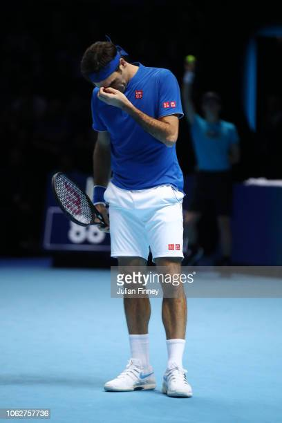 Roger Federer of Switzerland reacts during Day Seven of the Nitto ATP Finals at The O2 Arena on November 17 2018 in London England