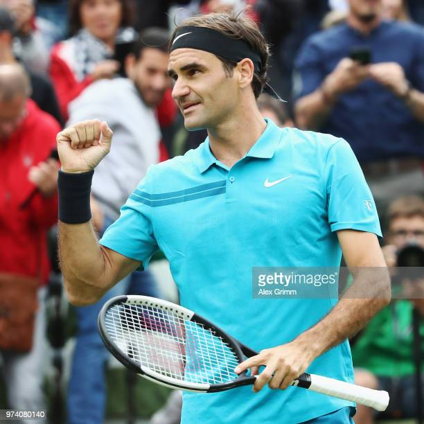 Roger Federer of Switzerland reacts during his match against Mischa Zverev of Germany during day 3 of the Mercedes Cup at Tennisclub Weissenhof on...