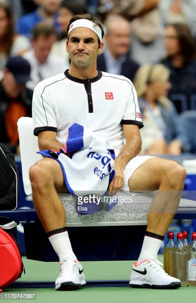 Roger Federer of Switzerland reacts during his Men's Singles second round match against Damir Dzumhur of Bosnia and Herzegovina on day three of the...