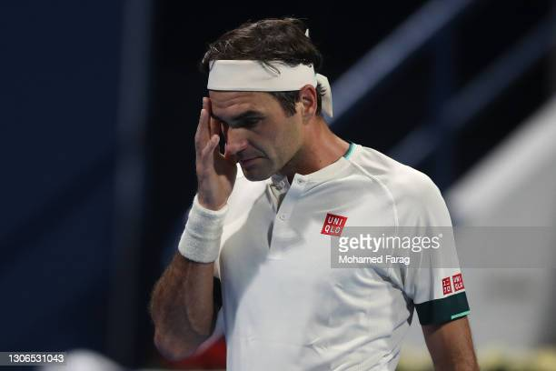 Roger Federer of Switzerland reacts during his quarter final loss to Nikoloz Basilashvili of Georgia in the Qatar ExxonMobil Open at Khalifa...
