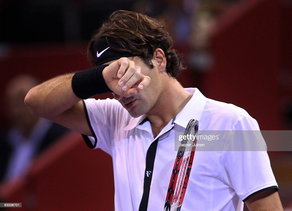 Roger Federer of Switzerland reacts during his semi final Madrid Masters tennis tournament match against Andy Murray of Great Britain at the Madrid Arena on October 18, 2008 in Madrid, Spain.