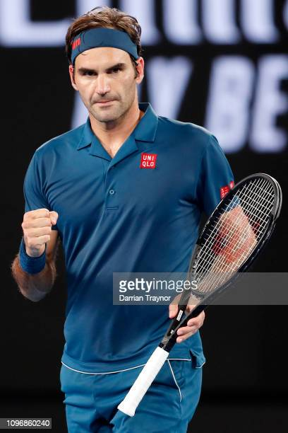 Roger Federer of Switzerland reacts in his fourth round match against Stefanos Tsitsipas of Greece during day seven of the 2019 Australian Open at...