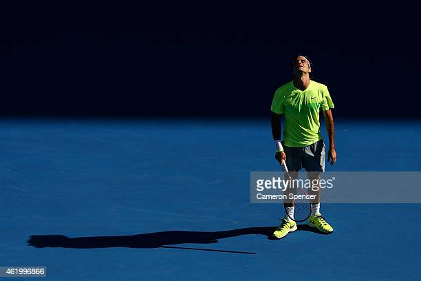 Roger Federer of Switzerland reacts in his third round match against Andreas Seppi of Italy during day five of the 2015 Australian Open at Melbourne...
