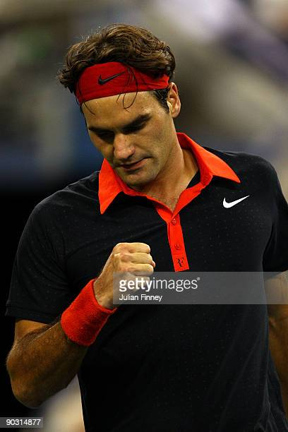 Roger Federer of Switzerland reacts to a point against Simon Greul of Germany during day three of the 2009 US Open at the USTA Billie Jean King...