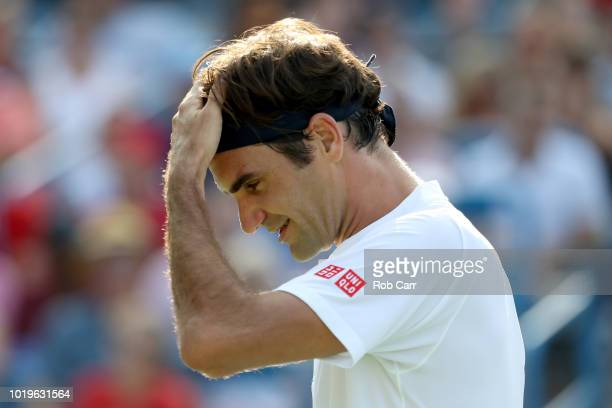Roger Federer of Switzerland reacts to a shot against Novak Djokovic of Serbia in the mens final during Day 9 of the Western and Southern Open at the...