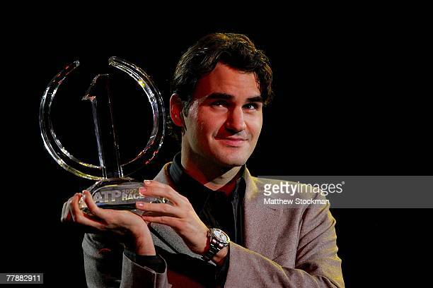 Roger Federer of Switzerland receives the ATP Race 2007 Trophy for finishing the regular season number one on November 13 2007 during the Tennis...