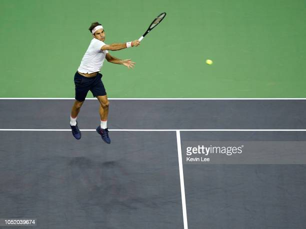 Roger Federer of Switzerland returns a shot to Borna Coric of Croatia during the semi-final of men's singles match of the 2018 Rolex Shanghai Masters...