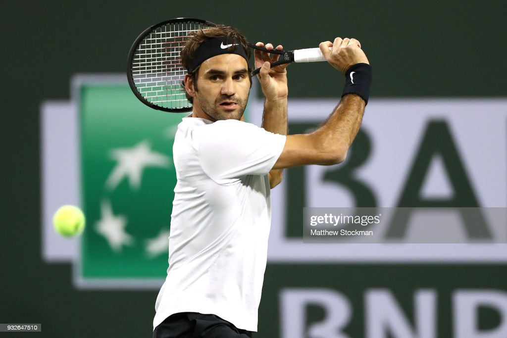 Roger Federer of Switzerland returns a shot to Hyeon Chung of Korea during of the BNP Paribas Open at the Indian Wells Tennis Garden on March 15, 2018 in Indian Wells, California.