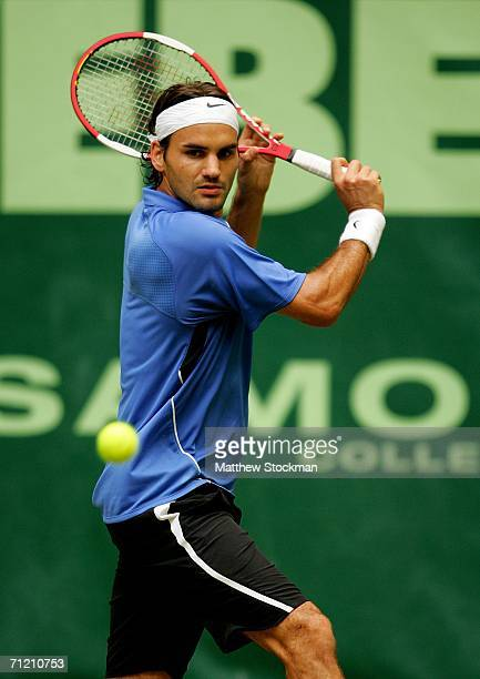 Roger Federer of Switzerland returns a shot to Richard Gasquet of France on June 15, 2006 during the Gerry Weber Open at Gerry Weber Stadium in...