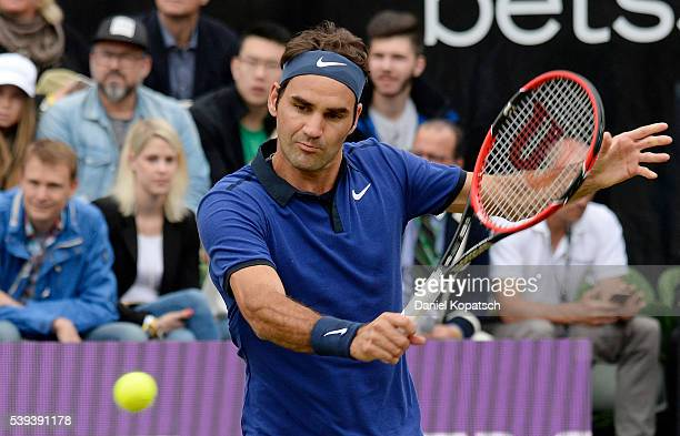 Roger Federer of Switzerland returns against Dominic Thiem of Austria during the semifinals on day 8 of Mercedes Cup 2016 on June 11 2016 in...