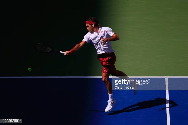 Roger Federer of Switzerland returns the ball during his men's singles third round match against Nick Kyrgios of Australia on Day Six of the 2018 US...